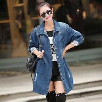 New Women Long Sleeve Outwear Denim Long Jeans Jacket Coat Size S-5XL Fashion