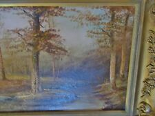Salvea Victorian Antique Oil Stream Tree Landscape Painting framed