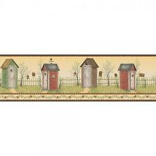 Country Outhouses with Check Edge on Sure Strip Wallpaper Border YC3393BD