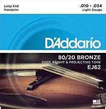 D 'Addario 80/20 Bronce Mandolina Cuerdas Medidor de Luz. 010 - .034 EJ62