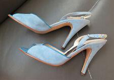 Vintage 1970's Baby Blue Suede Slingback Peep Toe Heels Jacqueline Italy 8 M