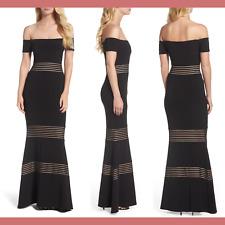 NWT $188 XSCAPE Inset Off the Shoulder Mermaid Gown Black [PETITE SZ 14P ] #G461