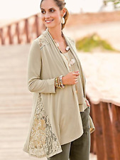 Together Lace Panel Jersey Cardigan Stone Size 10 Evening Occasion Fab Boho