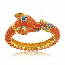 Kenneth Jay Lane Coral/Orange Elephant Cuff Bangle Bracelet