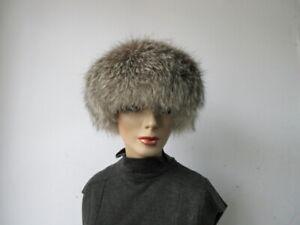 "Women's Sz 22"" Black Suede Hat with Silver Fox Fur Trim  SUPERB"