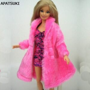 Fashion Winter Warm Wear Pink Fur Doll Coat for 1/6 BJD  Barbie Dolls Kids Toy