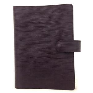 Authentic Louis Vuitton Epi Agenda MM Purple Leather Notebook Cover /60579