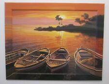Wandbild Kunstdruck Bild Rahmen bemalt Boot Boote am Meer Strand Abend 72x92cm