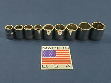 CLASSIC METRIC ARMSTRONG 3/8 DRIVE 9PC SOCKET LOT 12 PT FREE SHIPPING HAND TOOLS