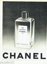 PUBLICITE ADVERTISING  026  1958  Chanel  eau Cologne Monsieur