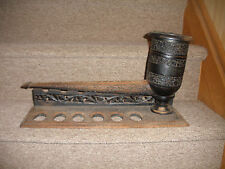 """ANTIQUE HAND CARVED LARGE INLAY WOOD 18"""" PIPE HUMIDOR RACK PERSIAN ISLAMIC RARE"""