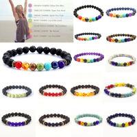 7 Chakra Healing Beaded Bracelet Natural Lava Stone Diffuser Bangle Jewelry Gift