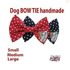 New Dog Bow Tie Bowtie Rainbow STAY SAFE Elastic Band attach COLLAR  Handmade UK