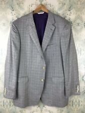 Samuelsohn Gray Purple Houndstooth Plaid Silk Blazer 48 Semi-Long