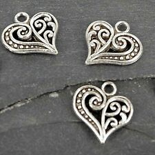Heart Charms , Pendant, Charms, Antique Silver Findings Charm,  CH9 - 10 pack