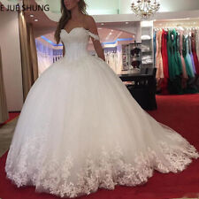 White Lace Appliques Ball Gown Wedding Dresses Sweetheart Beaded Princess Custom