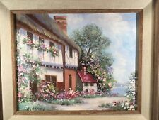 ORIG H Gailey Painting Canvas Framed 8x10 15x17 Country Seaside Cottage KINKADE