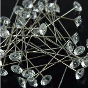 200pc Clear Gem Diamond Cut Pins Diamante Bling for Bouquet Wedding Flower Stock