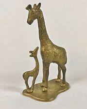 """Brass Giraffe Mother and Baby Figure Gazing Statue Art 7"""" Brass Cast Collectible"""