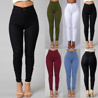 Pencil Jeans Women Ladies Stretch Casual Denim Skinny Pants High Waist Trousers