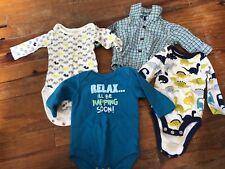 Baby Boys 0-3 Month Long Sleeve Bodysuit Lot