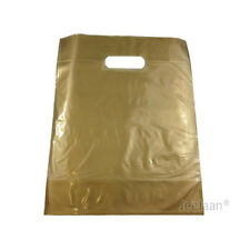 """200 Gold Plastic Carrier Bags 15""""x18""""+3"""" Gift Party Shop Carry Patch Handle"""