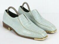 Giorgio Brutini Mens 6 Genuine Snake Skin Leather Shoes Light Blue Loafers Slip