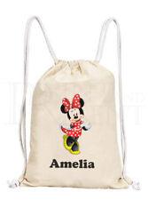 Personalised Childrens Girls Boys Minnie Mouse Drawstring Canvas Gym/ PE Bag