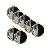 2pcs Jewelry Making Alloy Glass Rhinestone Round Pendants Charms Crafts 53601