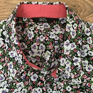 M&S SHIRT Blouse Top Size UK 8 Dark Floral Black Multi Fitted 3/4 Sleeve Women's