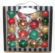 Christopher Radko BOX LOT OF 36 Christmas Ornament red gold green glitter shiny