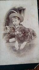 1890'S CHARMING ANTIQUE CDV PHOTOGRAPH - LITTLE BOY CHILD SAILOR SUIT & PET DOG