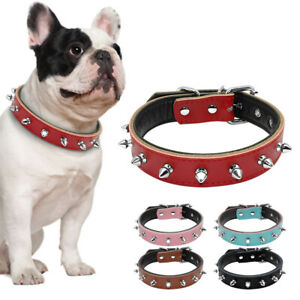 Spiked Studded Dog Collars Soft Leather Padded Adjustable for Small Medium Dogs