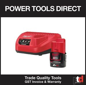 NEW MILWAUKEE M12 12V CORDLESS C12C CHARGER & M12B 2AMP BATTERY LITH ION