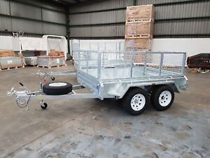 8x5 Galvanised Box Trailer Heavy Duty Dual axle 900mm cage Tandem 2Tonne ATM