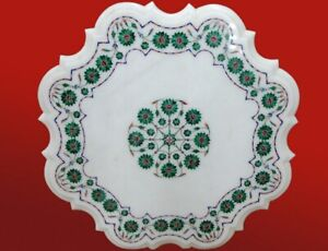 """24"""" x 24"""" White Coffee Table Top Marble Inlay Pietra dura Handcrafted Work"""