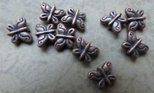 butterfly beads antique copper  tone puffed 10mm alloy metal