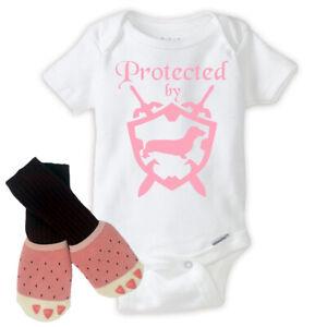 Protected by Wiener Dog Girl Onesie with Baby Girl Knee High Socks Newborn