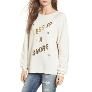 Wildfox Sommers Less is a Snore Sweatshirt Top Ivory Gold Size Medium NEW