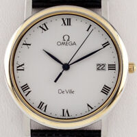 Omega DeVille Quartz Watch w/ Date Feature Gold-Plated w/ Black Leather Band