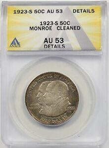 1923-S Monroe 50C ANACS AU 53 Details Early Silver Commemorative Half Dollar