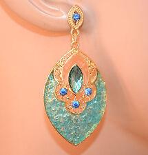 ORECCHINI pendenti donna oro dorati azzurri celesti gocce strass boucles A56