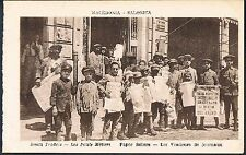 POSTCARD Macedonia Thessaloniki Small Traders Child Newspaper Sellers c1915 perf