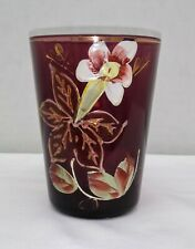 Amethyst Purple Victorian Glass Hand Painted Floral Tumbler