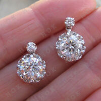 Vintage 2 Ct Round Cut Diamond Solitaire Drop Earrings 14k White Gold Over