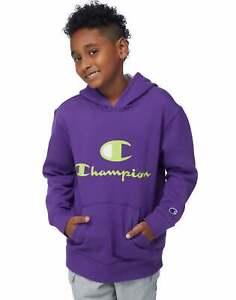 Champion Kids Fleece Hoodie, C + Script Logos