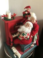 Holiday Creations Santa and Mrs Claus Piano Christmas Decoration With Cassette