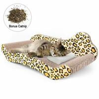 Pet Cat Scratch Bed Lounge Post Furniture Play Rest Sleep Cardboard with Catnip