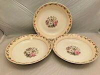 "3 Vintage The French Saxon China Co Sebring Ohio 8"" Salad Bowls - Discontinued"