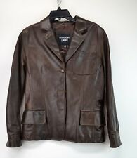 EMANUEL UNGARO LIBERTE' Women's Brown Leather Jacket Coat Size 4/38  (J6)